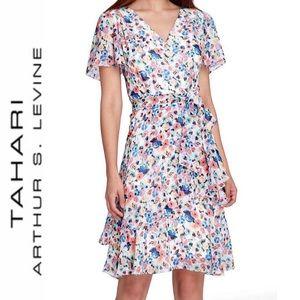 TAHARI ASL Floral Faux Wrap Tired Ruffled Dress